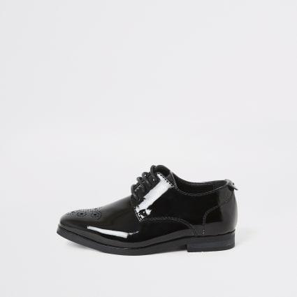 Mini boys black patent pointed toe shoes