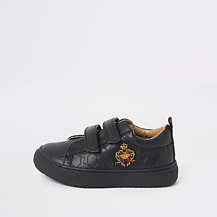 Mini boys black RI crest monogram plimpsolls