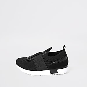 Mini boys black elasticated knitted trainer