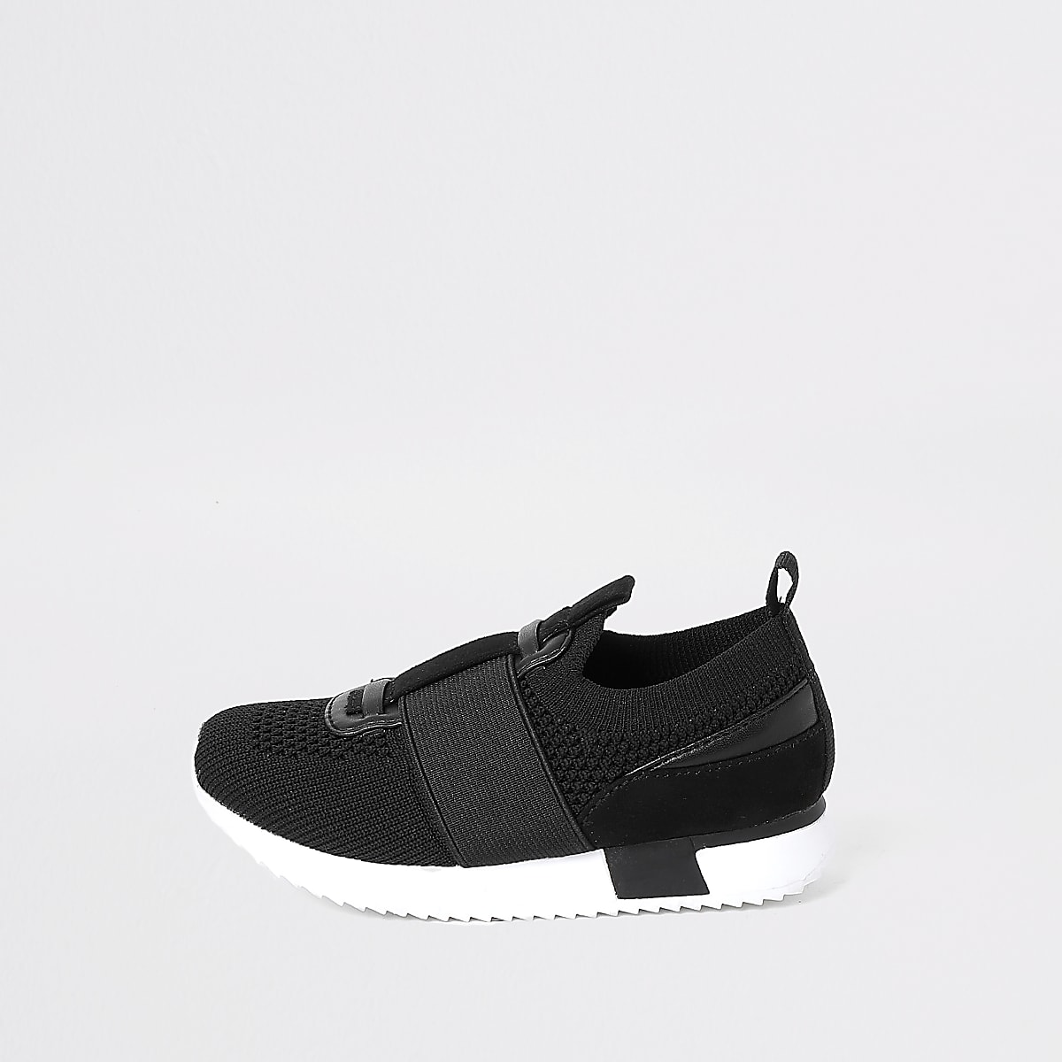 Mini - Zwart elastische gebreide sneaker voor jongens