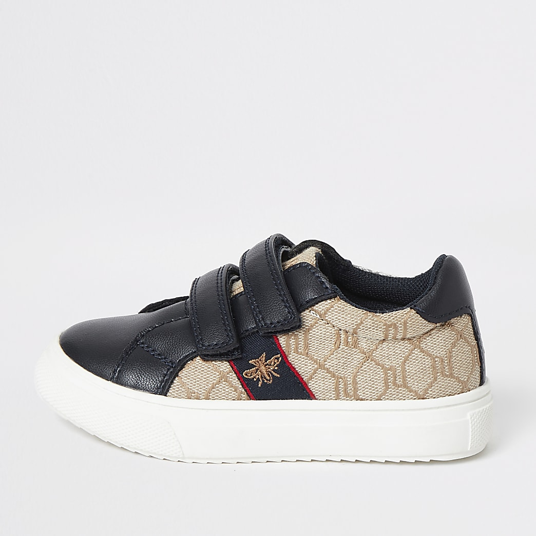 Mini boys navy RI monogram trainers