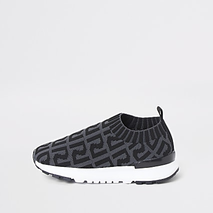 Mini boys grey RI monogram runner trainers