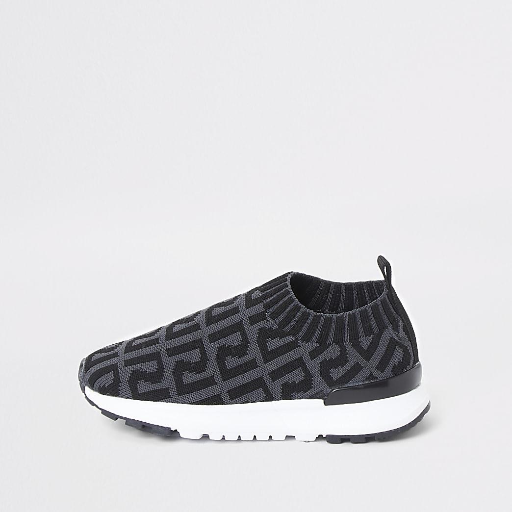 Mini – Graue Lauf-Sneaker mit RI-Monogramm für Jungen