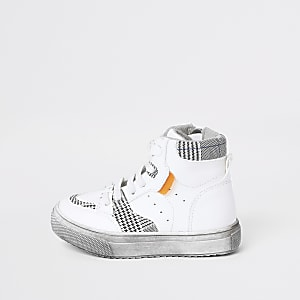 Mini boys check high top trainers