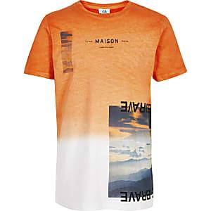 Oranje vervaagd T-shirt voor jongens
