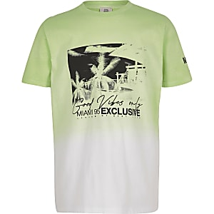 Boys lime fade printed T-shirt
