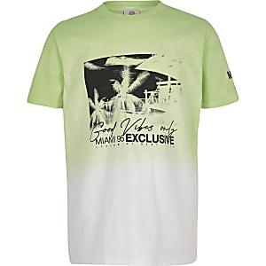 T-shirt vert citron à imprimé délavé pour garçon