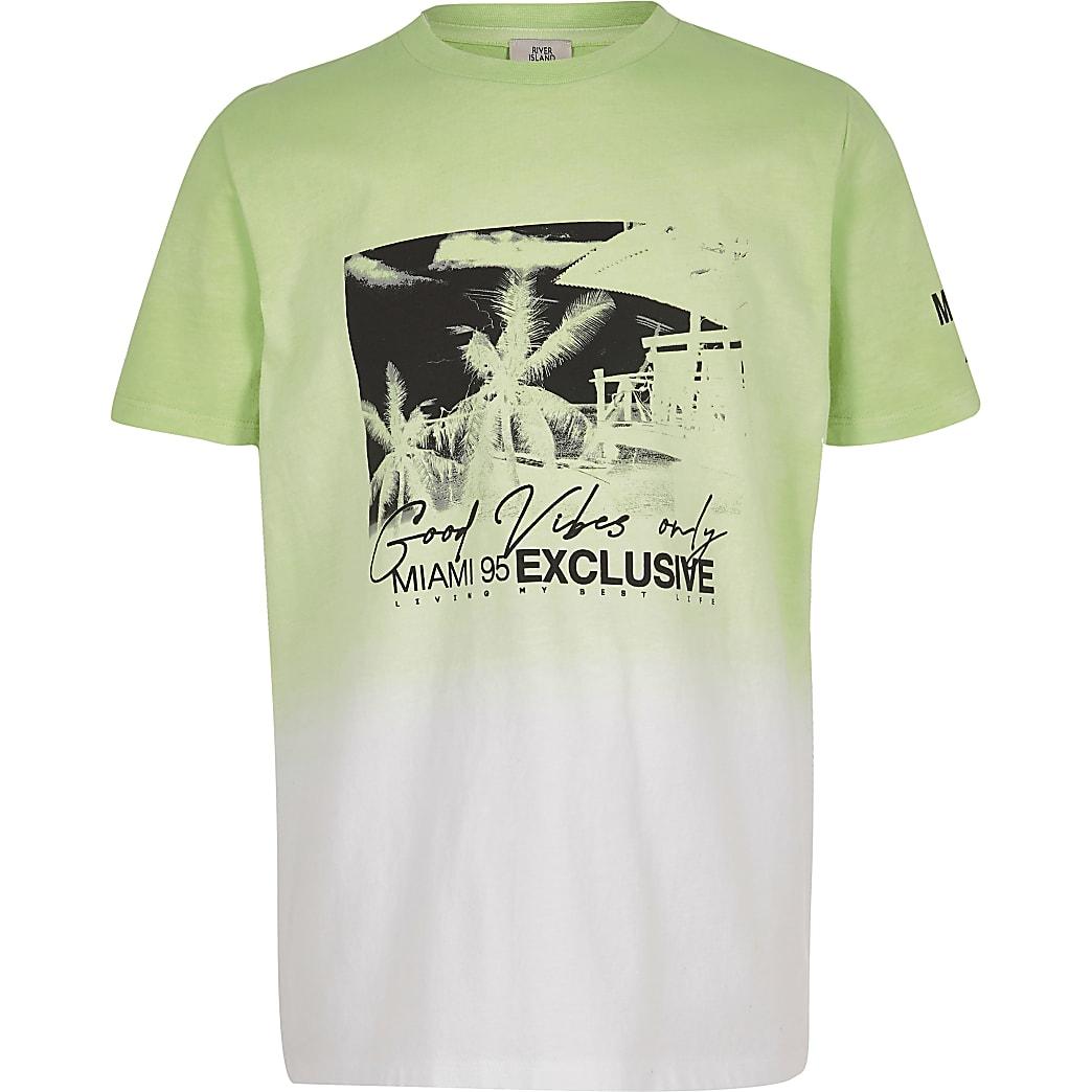 Boys lime fade printed T-shirt