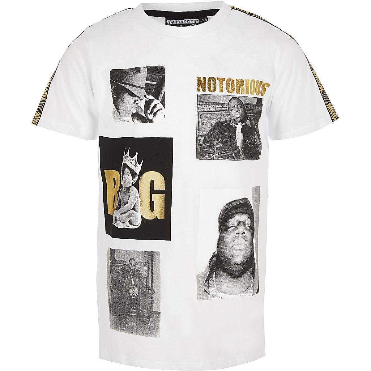 Boys white Biggie Smalls T-shirt