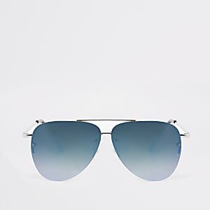 Boys silver blue lens aviator sunglasses