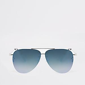 Lunettes de soleil aviateur argentées à verres bleus pour garçon