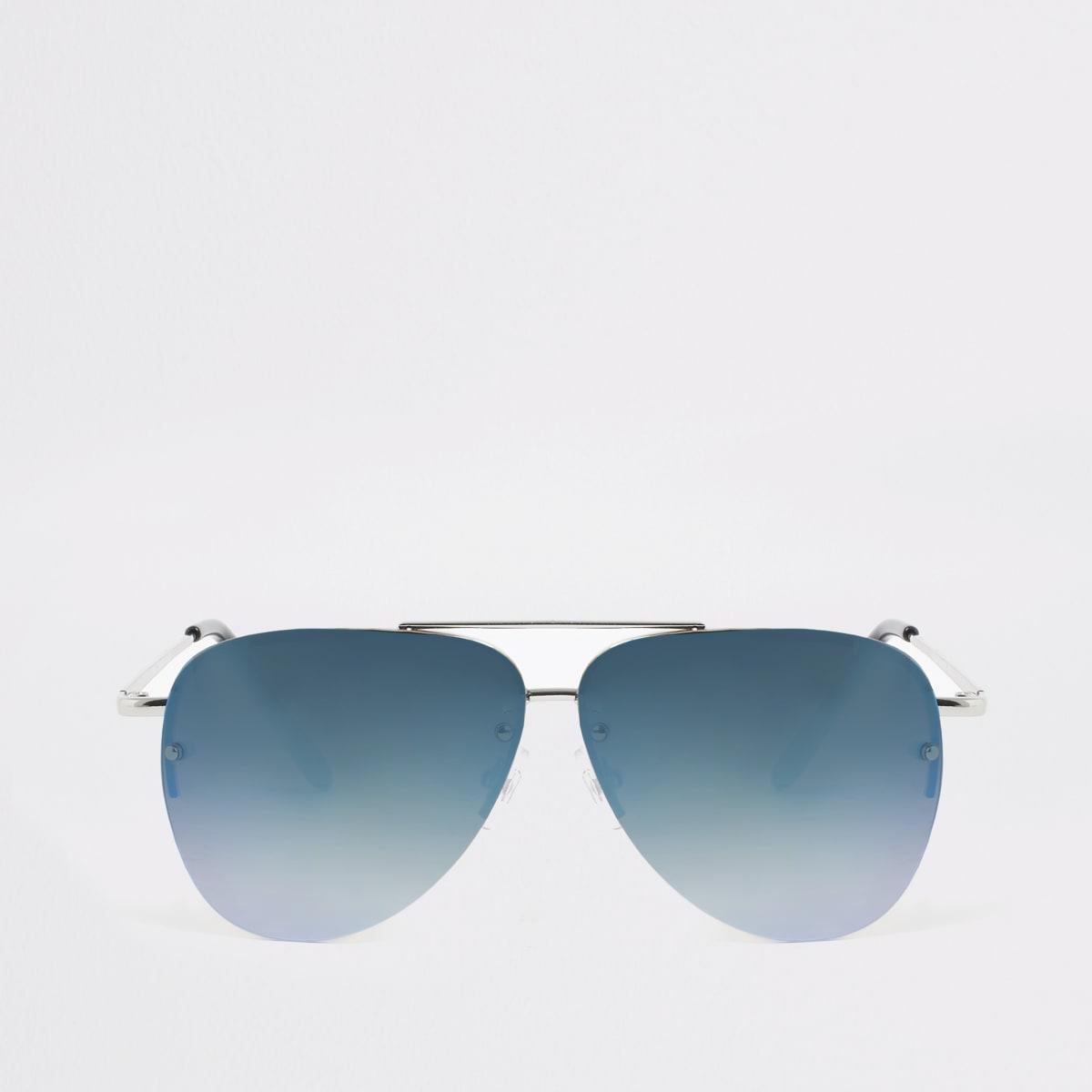Boys silver blue lens aviator sunglasses