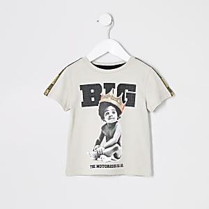Mini - Beige T-shirt met baby- en Biggie Smalls-print voor jongens