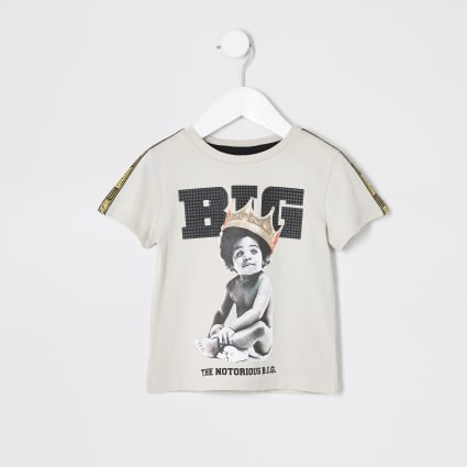 Mini boys beige baby Biggie Smalls T-shirt