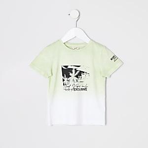 Mini - Limoengroen T-shirt met stadsprint voor jongens