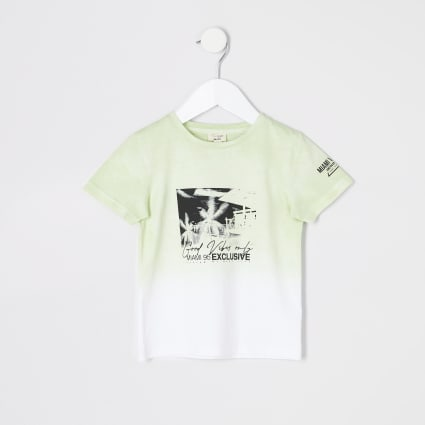 Mini boys lime green city print T-shirt