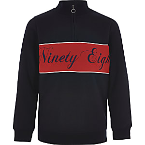 Boys navy blocked half zip sweatshirt