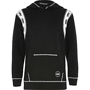 Zwarte hoodie met 'RVR'-inzetstuk voor jongens