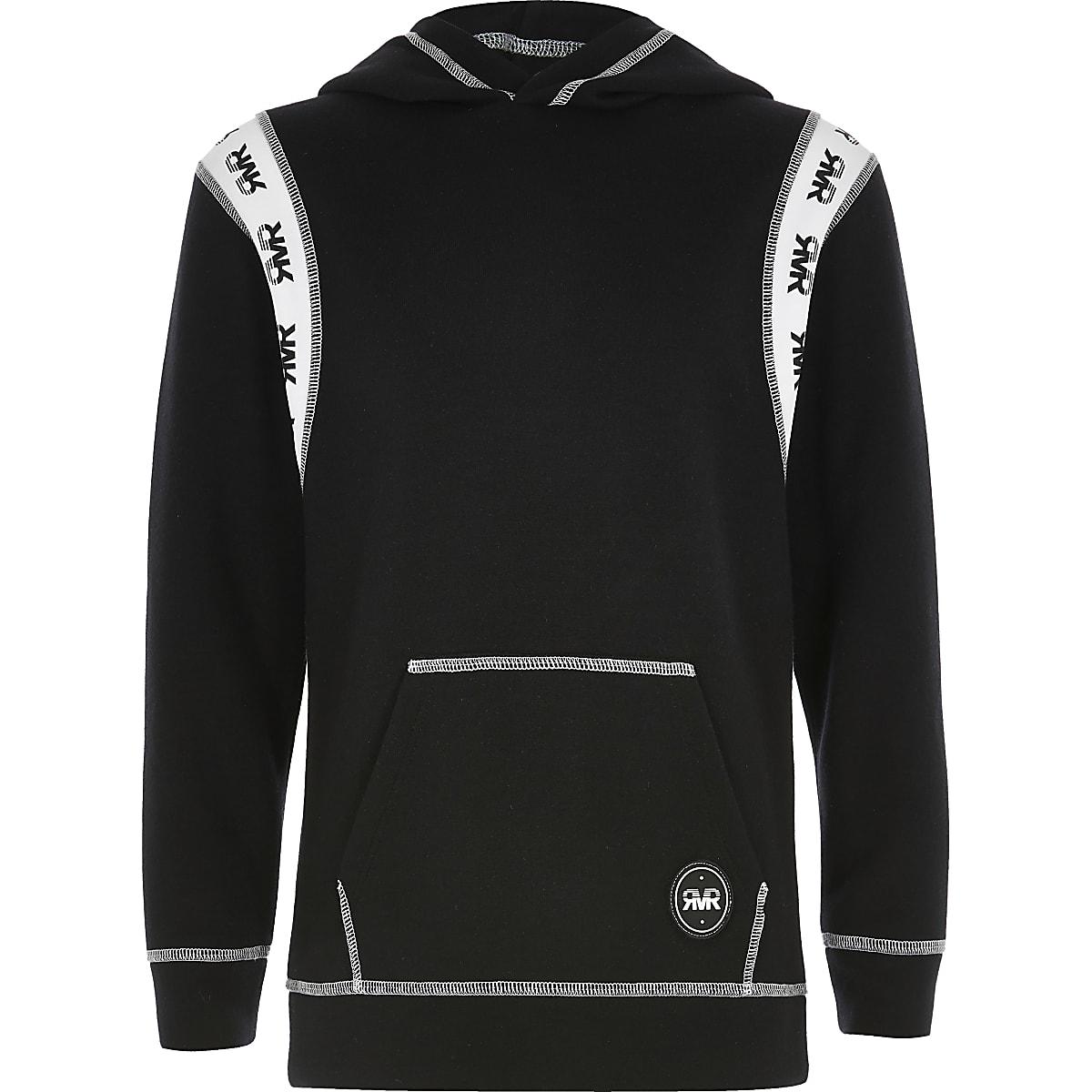 Boys black 'RVR' panelled hoodie