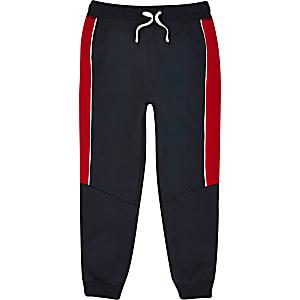 Pantalon de jogging à bande color block bleu marine pour garçon