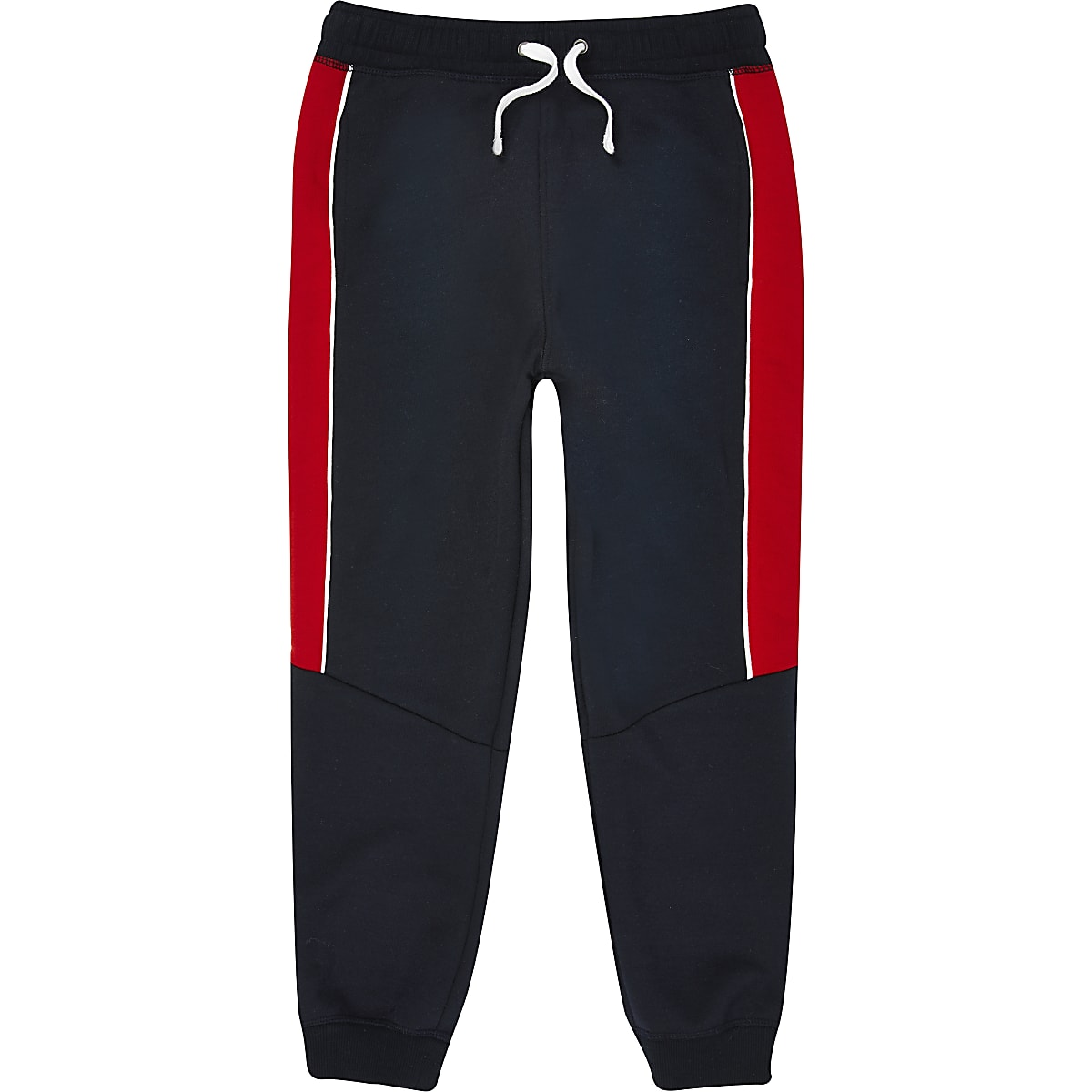 Boys navy blocked tape joggers