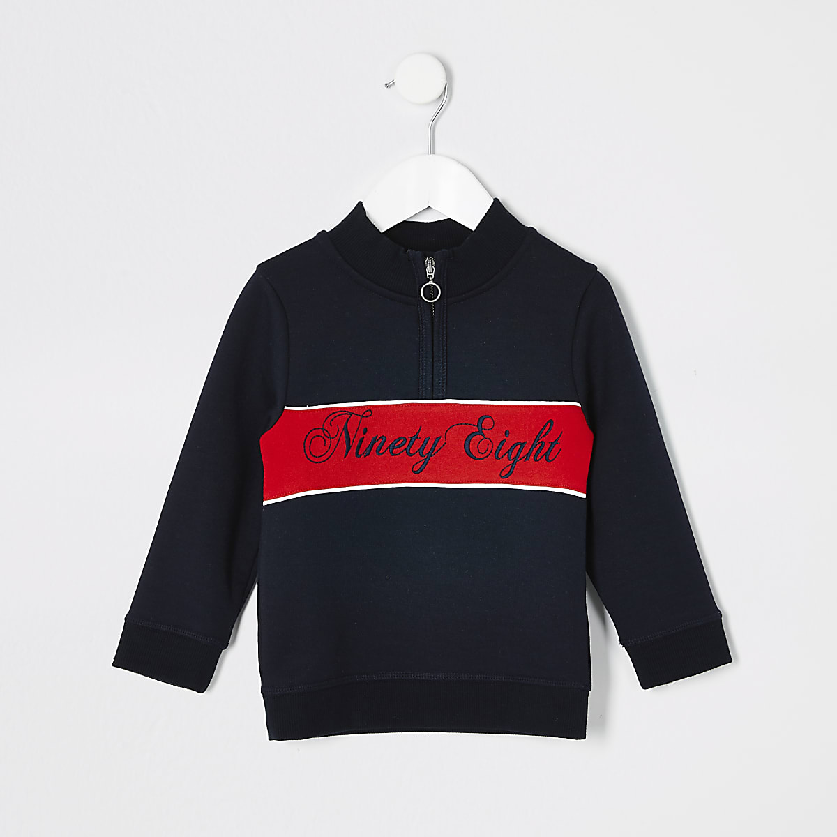 Mini boys navy blocked sweatshirt