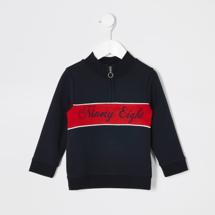 Mini boys navy blocked sweatshirt