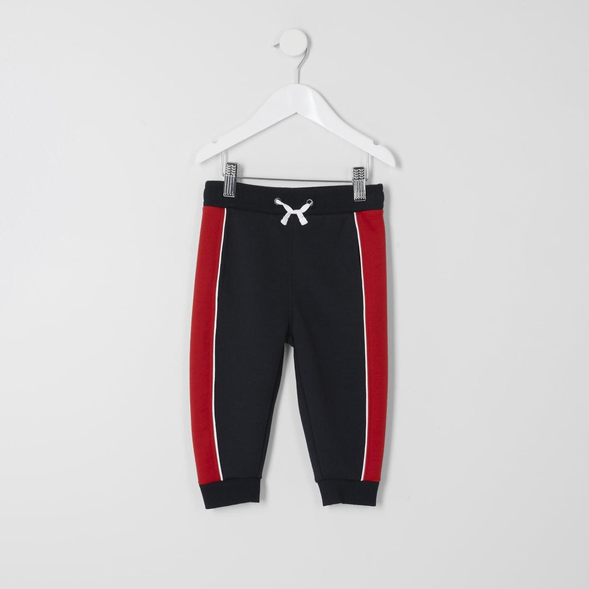 Mini boys navy panelled jogger