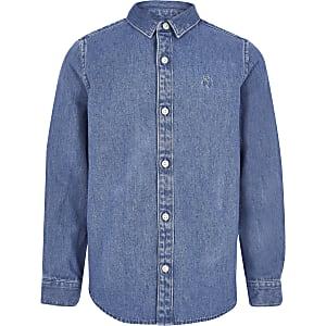 Blauw denim overhemd met lange mouwen voor jongens