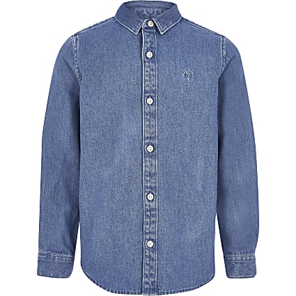 Boys blue long sleeve denim shirt