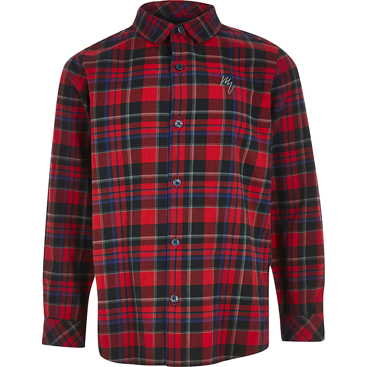 Boys red check print long sleeve shirt