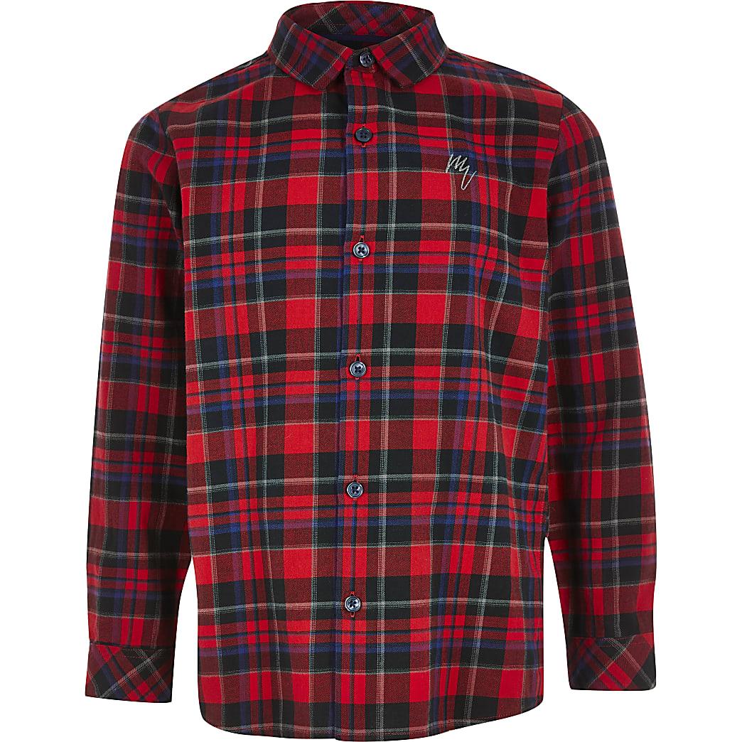 Boys red check print long sleeve shirt