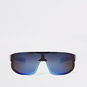 Boys black blue lens visor sports sunglasses