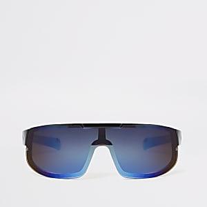 Lunettes de soleil de sport façon masque noires à verres bleus pour garçon