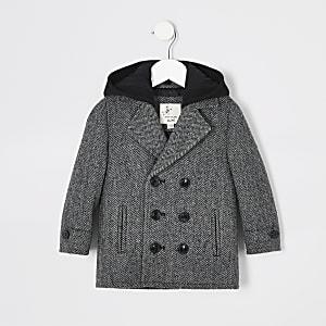 Klassischer Mantel in Grau mit Kapuze und Fischgräten-Muster für kleine Jungen