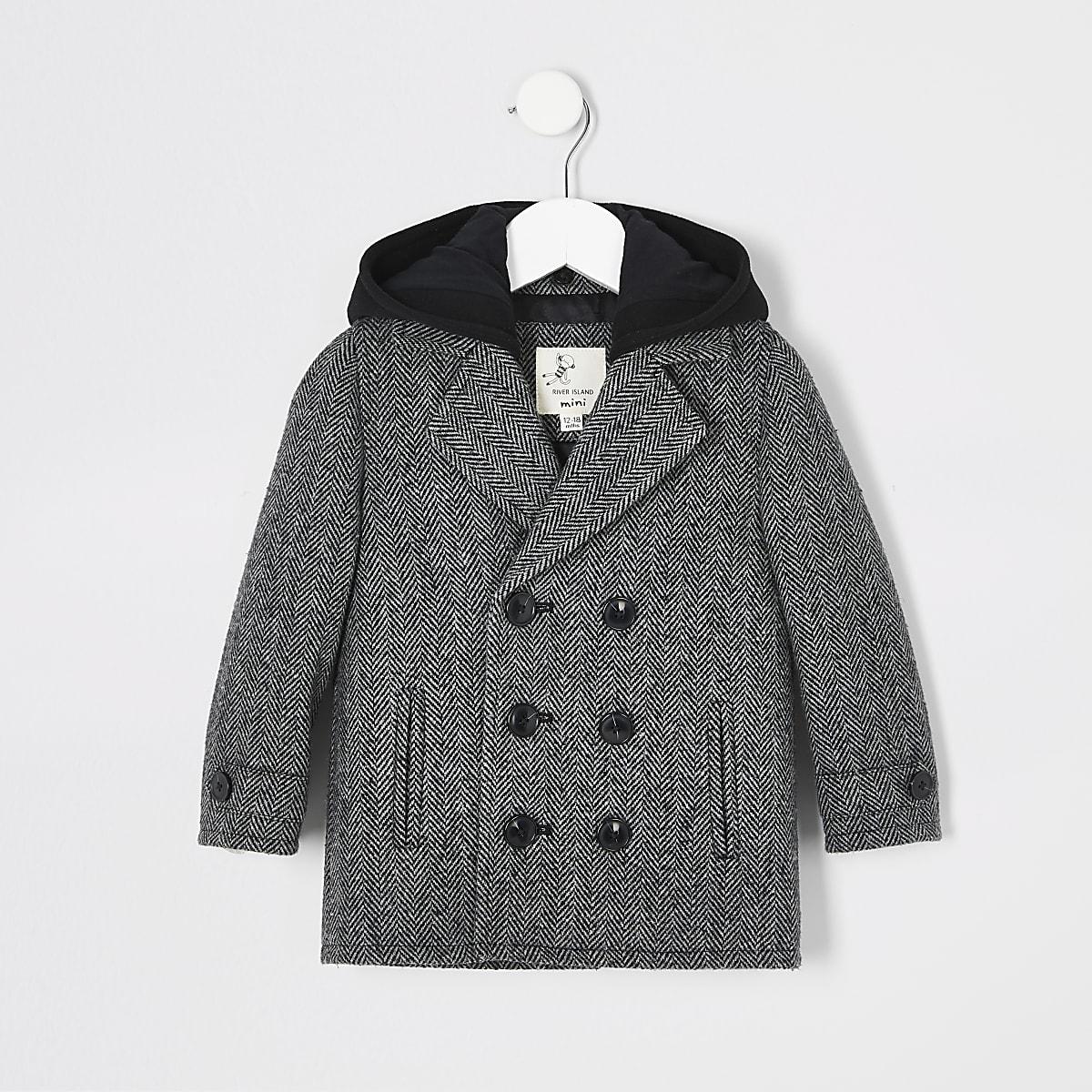 Mini boys grey herringbone hooded overcoat