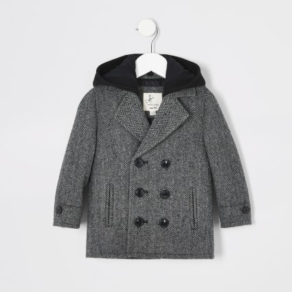 Mini boys grey herringbone hooded overcoat