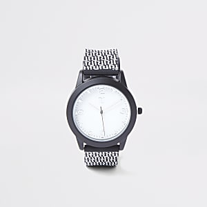 Schwarze Armbanduhr mit RI-Monogramm