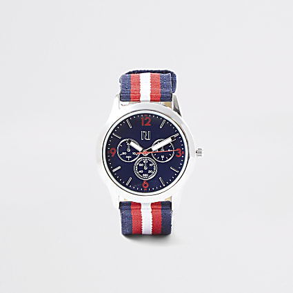 Boys navy stripe canvas strap watch