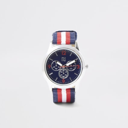 Boys navy stripe canvas strap watch