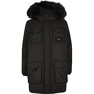 Boys black RVR utility parka jacket