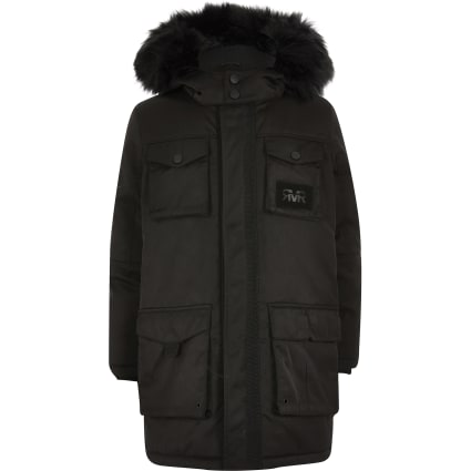 Boys black RVR utility parka jacket