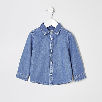 Mini boys blue long sleeve denim shirt