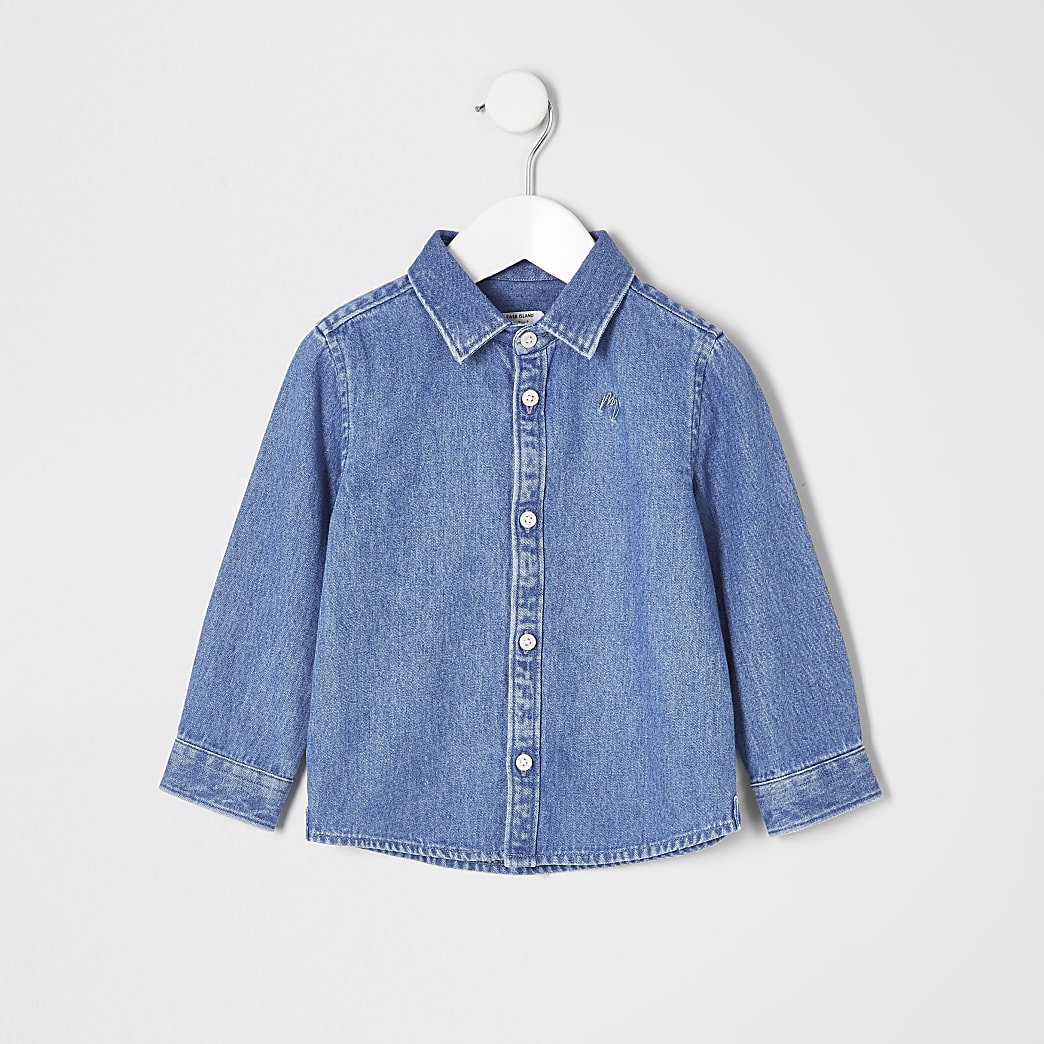 Mini - Blauw denim overhemd met lange mouwen voor jongens