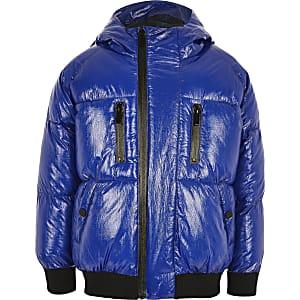Prolific - Blauwe gewatteerde jas met bies voor jongens