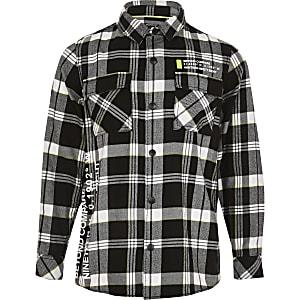 Zwart geruit overhemd met print voor jongens