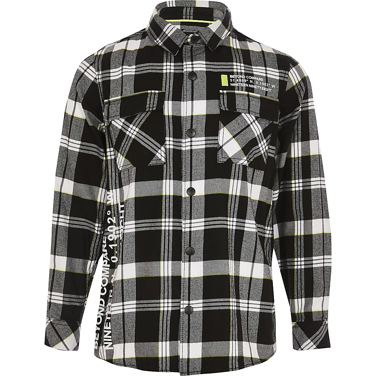 Boys black check printed shirt