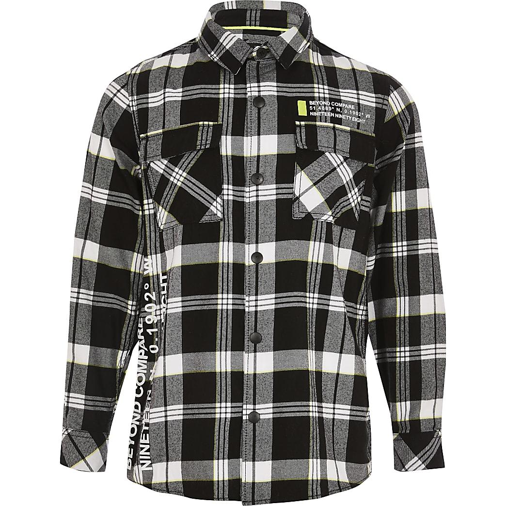 Boys black check printed shirt