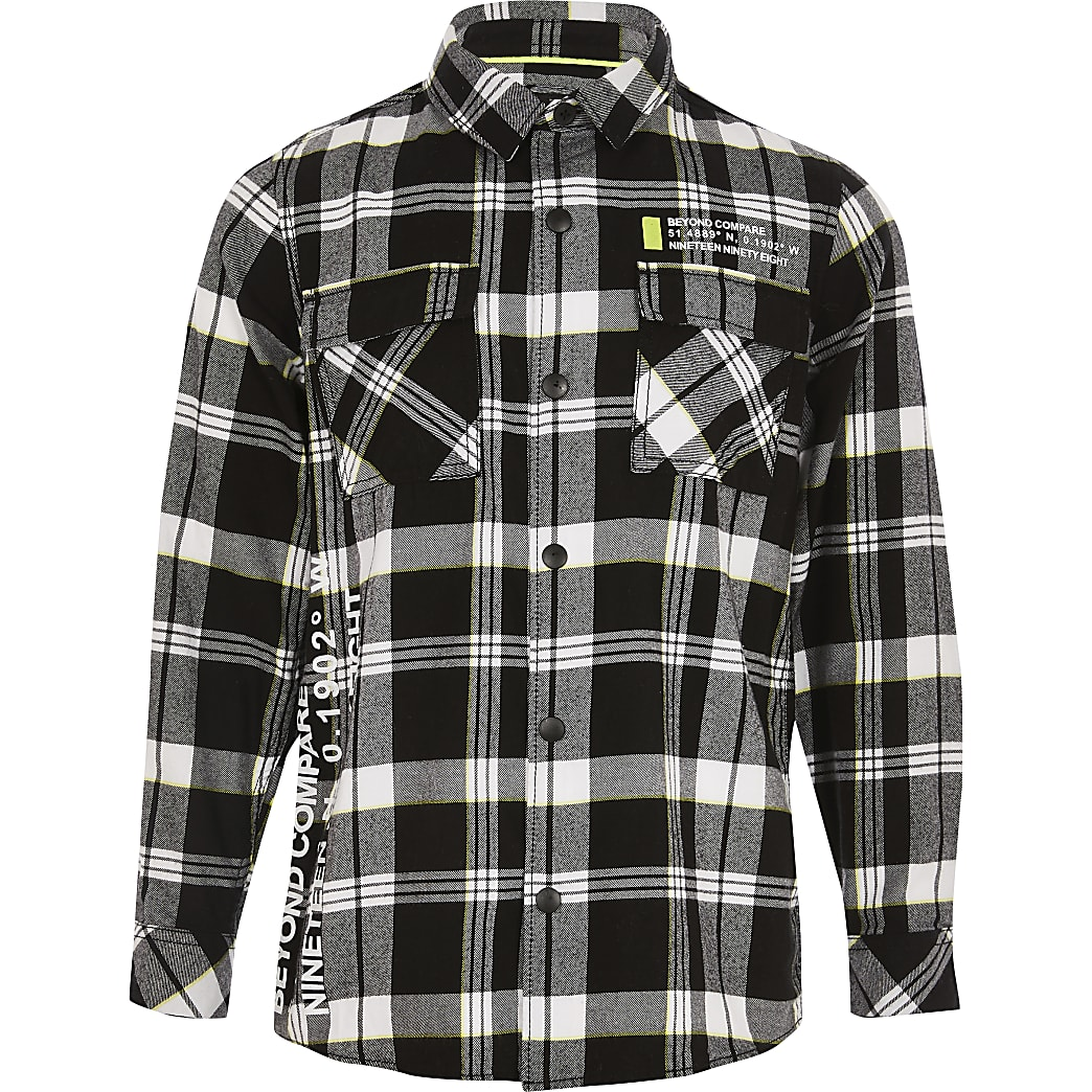 Schwarz kariertes Hemd für Jungen