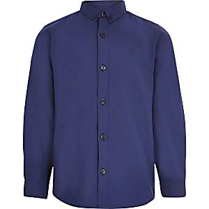 Marineblaues, langärmeliges Hemd aus Twill für Jungen